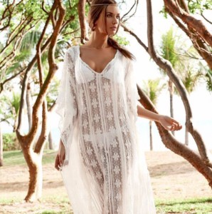 903cb5c63c Długa koronkowa sukienka plażowa . Kolor biały P144